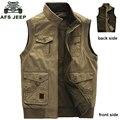 Afs jeep marca de bolsillo de varios militares hombres chaleco primavera y otoño chaleco outwear tamaño grande l-9xl 128