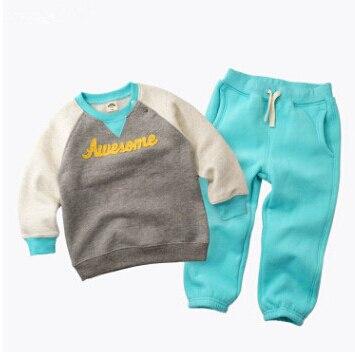 2017 Winter Autumn Kids Thicken Sets Baby Boys Girls Plus Velvet Hoddies Coat+Pants 2 Piece Suit Cotton Children's Kids Clothes