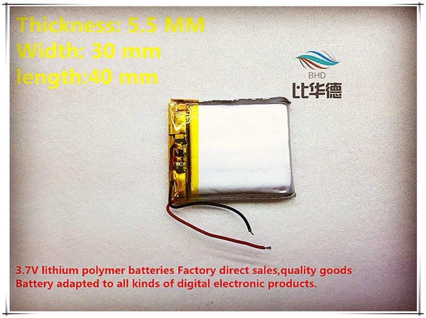 5 Teile/los 3,7 V 553040 600 Mah Lithium-polymer Batterie Qualität Waren Von Ce Fcc Rohs Zertifizierung Behörde Gute WäRmeerhaltung freies Verschiffen