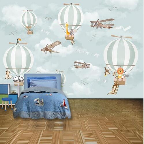 Children's Room Wall Papers Kids 3D Cartoon Animal Balloon Photo Wallpaper Murals Home Decor Non Self Adhesive Silk Wallpaper