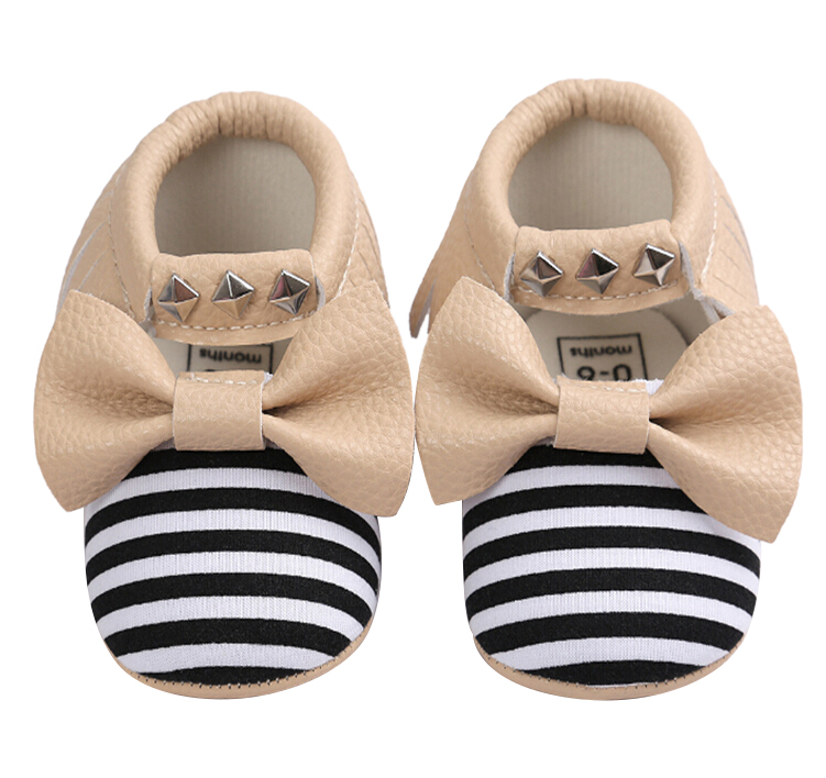 Baby Moccasins Soft Shoes Bebe Fringe Non-slip Footwear Crib Shoes PU Leather Khaki L