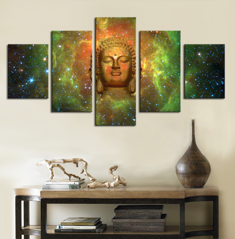 Framed Home Decor Canvas Print Painting Wall Art Buddha: 5 Piece Large Buddha Head Canvas Pictures Buddha Canvas