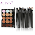 New Brand 15 Colors Contour Face Cream Makeup Concealer Palette and 20 PCS Professional make up Power Brushes Makeup Contour Pal