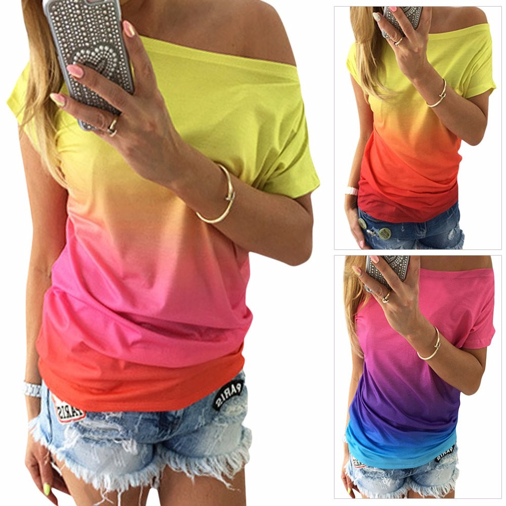 HTB1qZ13KVXXXXbDXXXXq6xXFXXXh - Women Tops Dye Print Tee Shirts Short Sleeve Gradient Color Casual