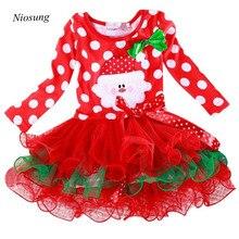 Niosung New Year Christmas Girl Kids Polka Dot Long Sleeve Dress Baby Clothing Christmas Party Costume Santa Claus