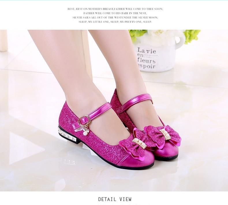 New 2017 children princess shoes girls sequins girls for Girls dress shoes for wedding