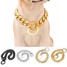 15 มิลลิเมตร Strong ต่างๆสีสแตนเลสสุนัขสุนัขฝึกอบรม Choke ปลอกคอสำหรับสุนัขขนาดใหญ่ Pitbull Bulldog สร้อยคอ