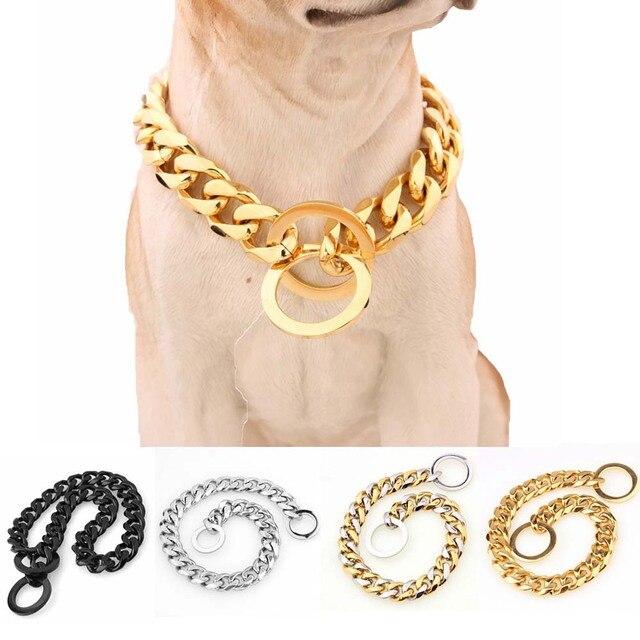 15 مللي متر لون مختلف قوي من الفولاذ المقاوم للصدأ طوق الكلب تدريب الكلاب سلسلة الياقات للكلاب الكبيرة بيتبول بولدوغ قلادة