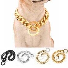 15mm Güçlü Çeşitli Renk Paslanmaz Çelik köpek tasması Köpek Eğitim Choke Zincir Yaka Büyük Köpekler Pitbull Bulldog Kolye