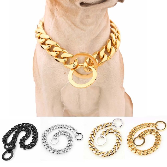 15mm Strong Various Color Stainless Steel Dog Collar Dogs Training Choke Chain Collars for Large Dogs Pitbull Bulldog Necklace