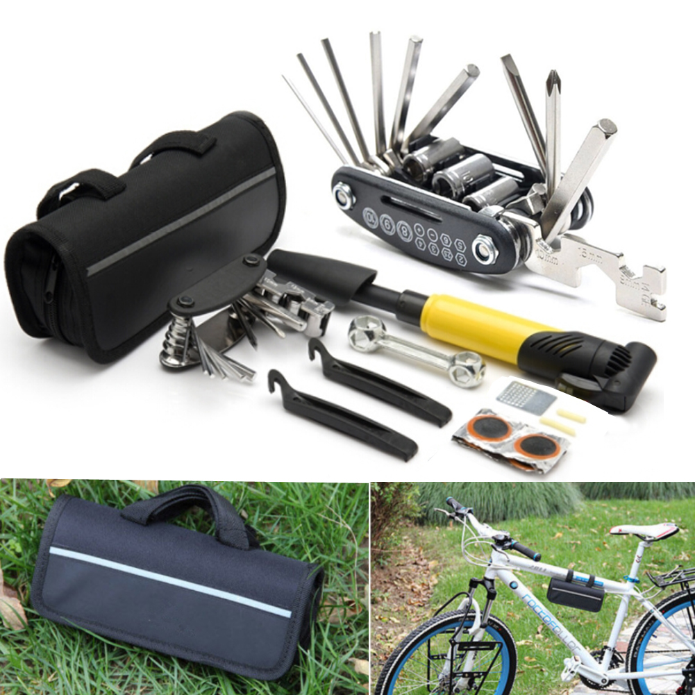 Mini Bike Tool Kit,17 in 1 Hex Key Wrench Sockets Spanner 120PSI Inflator with Frame Bag Off-road Emergency Repair