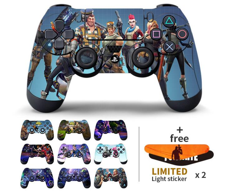 Data Frog 2Pcs For Fortress Night Sticker For Sony PlayStation4 Game Controller For PS4 Skin Stickers With 2pcs Led Stickers