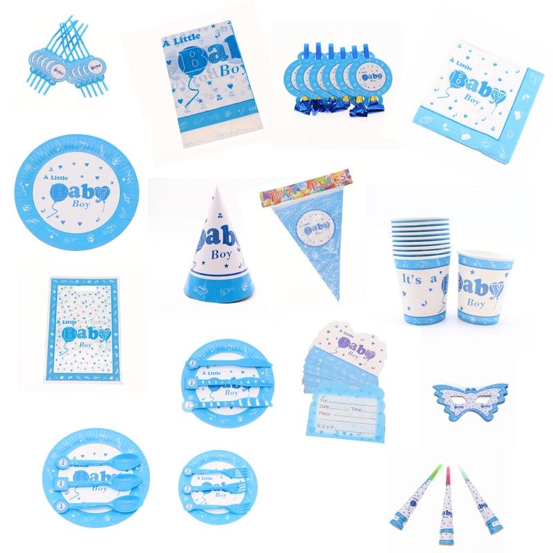Bebe Bleu Cartoon Theme Vaisselle Jetable Fellation Tasse Chapeau Fete D Anniversaire Mariage Fournitures Pour Bebe Douche Decoration Maison Aliexpress