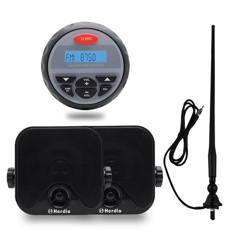 Motorcycle Stereo Bluetooth Audio Marine Waterproof Radio FM AM For Auto Car Boat ATV UTV SPA RZR Waterproof Box Speaker Antenna