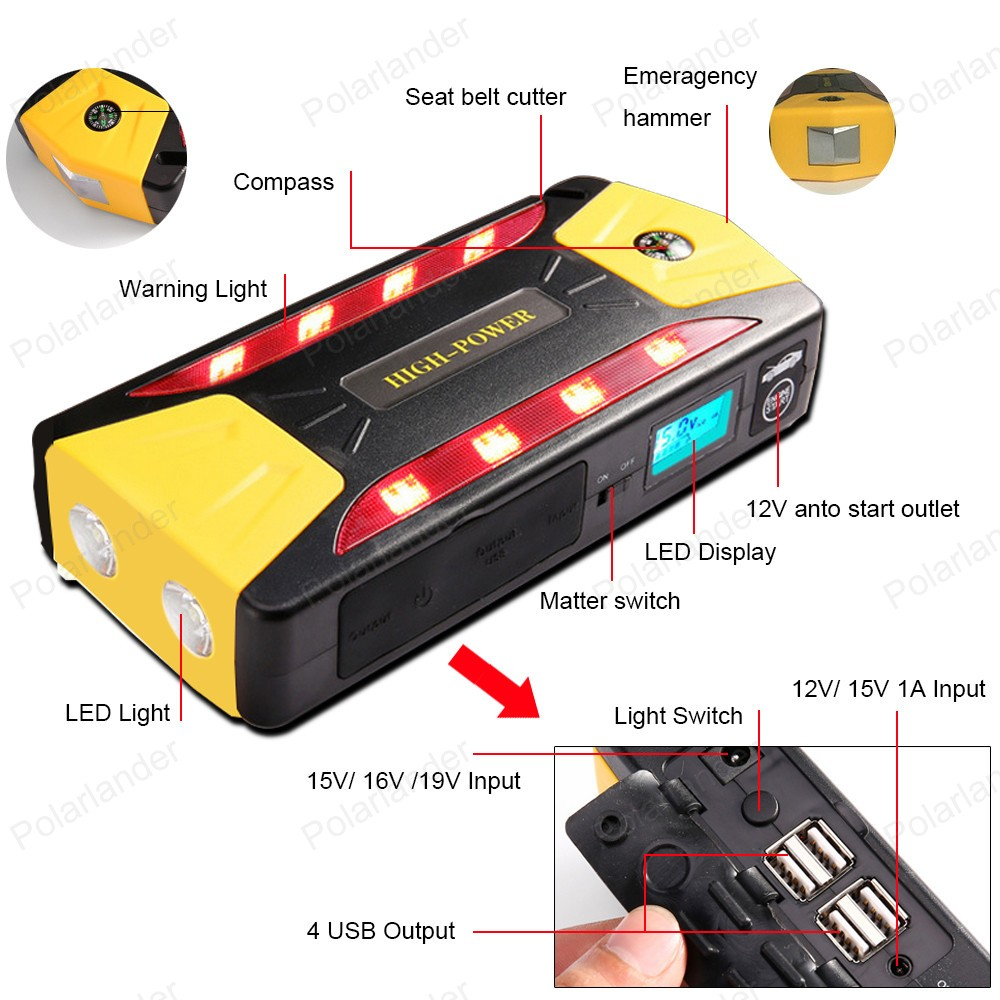 Multi-function 2018 new 12V Car Jump Starter power bank Portable battery For Petrol Best Selling
