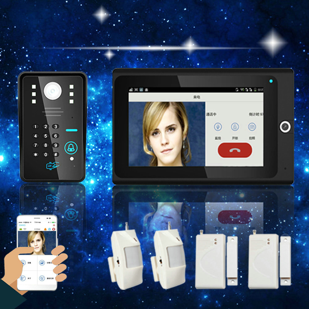 "720P RFID Wifi Video Doorbell 7"" WiFi Wireless Video Door Phone Intercom IP Camera PIR IR Night Vision Home Alarm System"