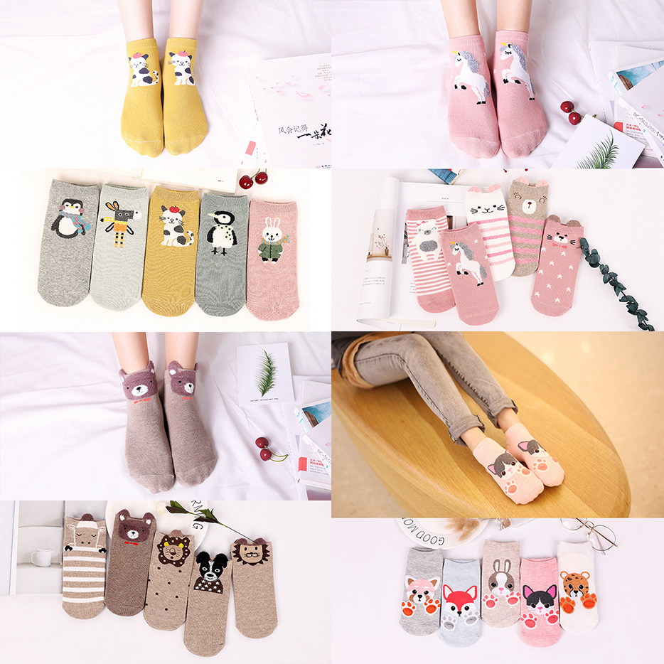 High-quality 5 Pairs/pack Women Socks Cotton 3D Cartoon Husky Pony Lion Fox Penguin Puppy Bear Cat Cute Dog Claw Funny Cute Sock
