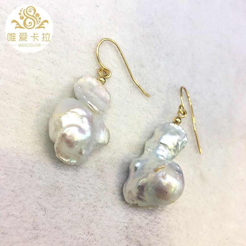 WEICOLOR нестандартные белые серьги из натурального жемчуга, ювелирные изделия с металлическим блеском золотого цвета, не легко теряют цвет.