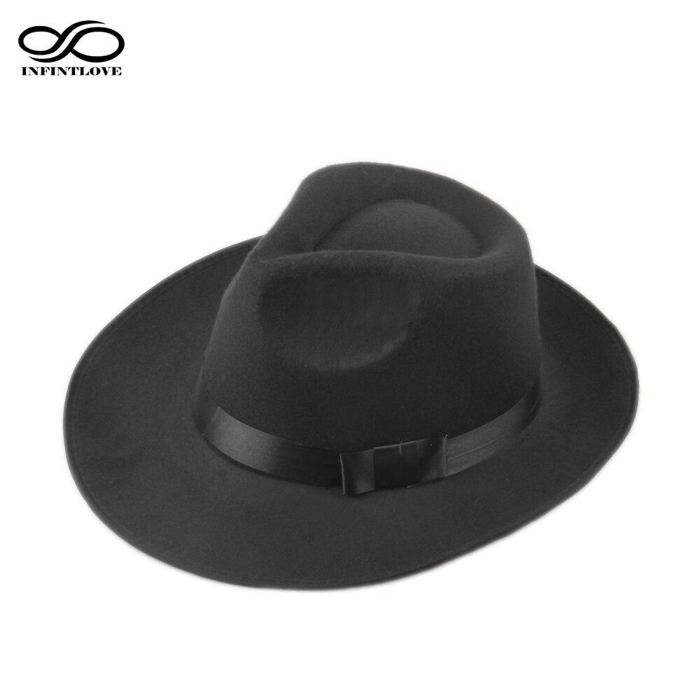 LUCKYLIANJI Vintage Männer Frauen Hart Wollfilz Hut Breiter Krempe Fedora Trilby Panama Hut Gangster Cap (Eine Größe: 58 cm)