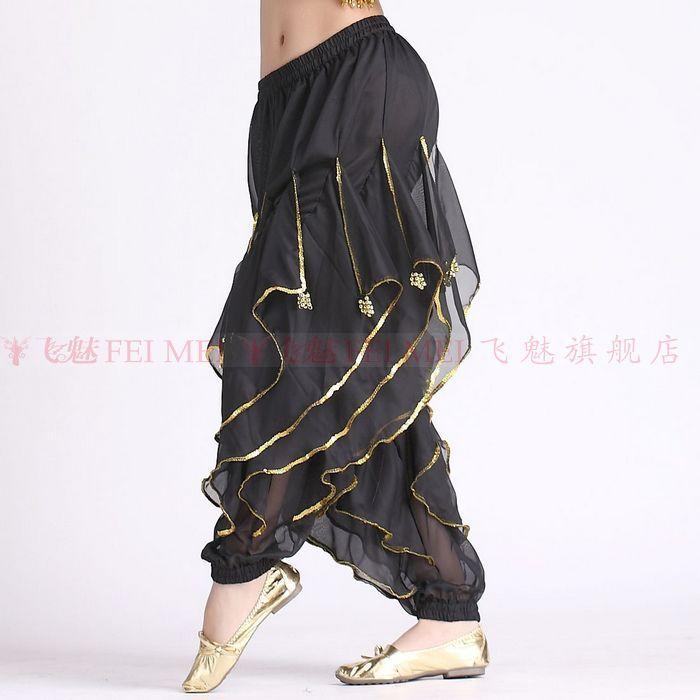 Indian broek vrouwen buikdans kostuum broek rokken/chiffon bloeiers/buikdansen Rotary beam been goud velg broek voor koop