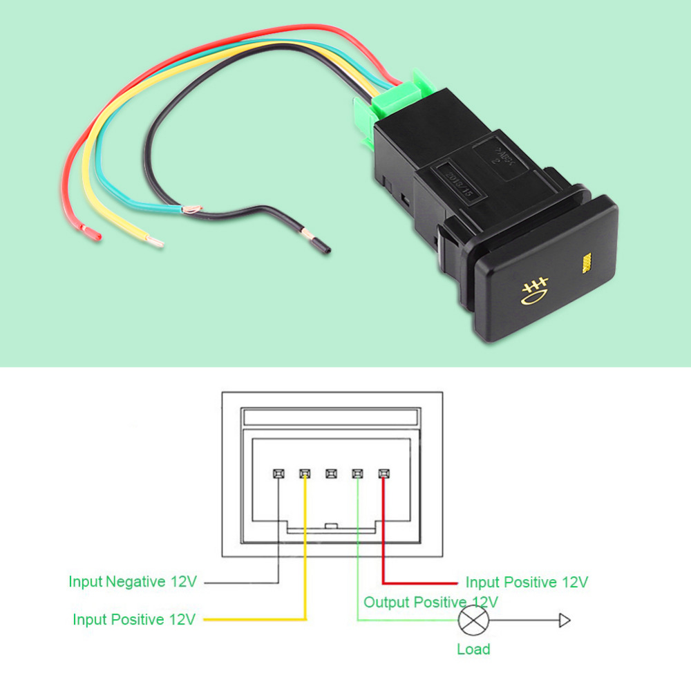 medium resolution of dc 12v 4 wire car foglight control switch fog light lamp on off toyota fog light switch wiring