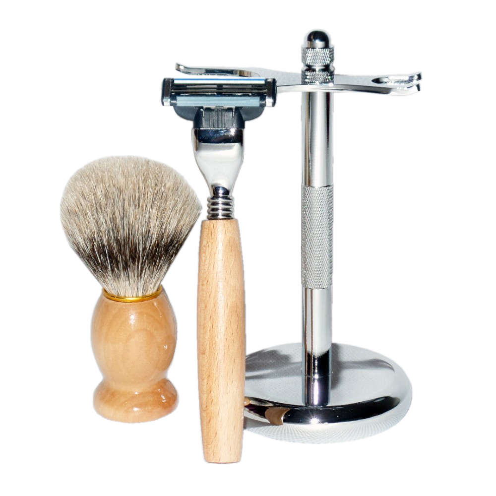 Shaving Set Wooden Badger Shaving Brush Safety Straight Razor Stainless Steel Stand for Men's Beard Care