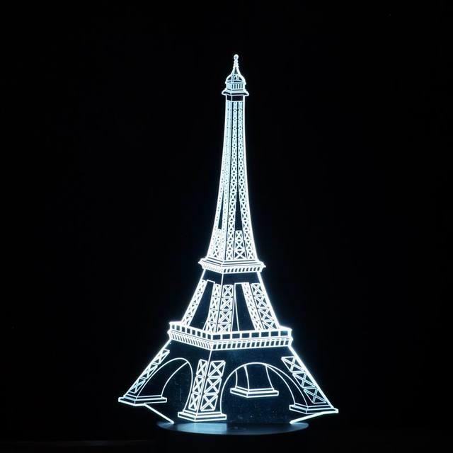 3D LED colorido Romántico Creativo Torre Eiffel forma de Escritorio Dormitorio Lámpara de Luz Nocturna de La Decoración como Regalos