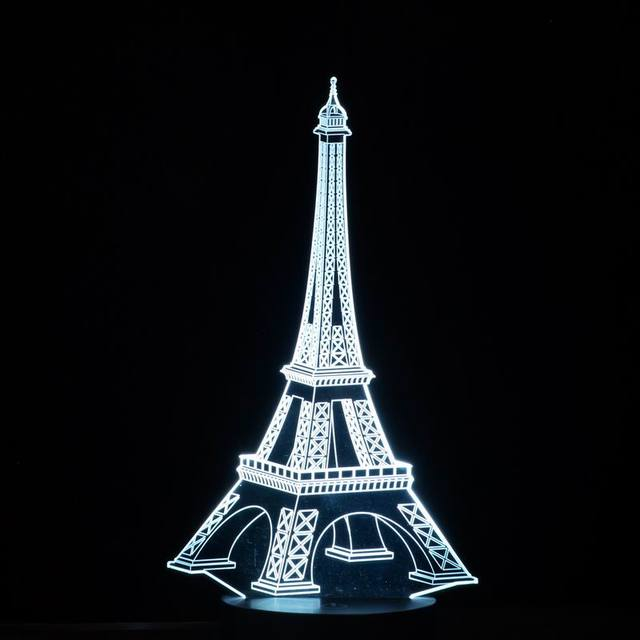 3D colorful LED Romantic Creative Desk Bedroom Eiffel Tower shape Night Light Lamp Decoration as Gifts