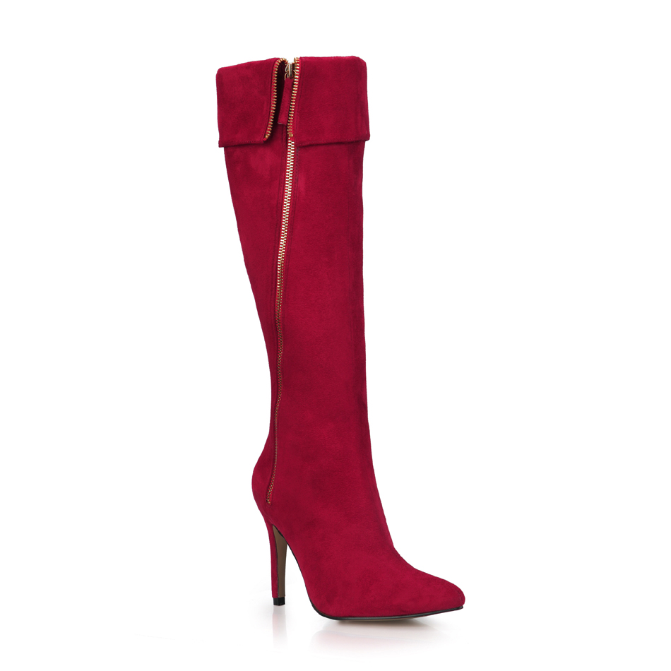 2016 Winter Red Suede Sexy Party Shoes Women Pointed Toe Thin High Heels Zipper Ladies Knee-High Boots Zapatos Mujer 70887BT-d5