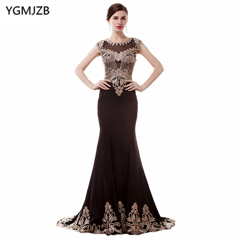 See Through Black   Evening     Dresses   2019 Mermaid Cap Sleeve Sheer Back Appliques Lace Prom   Dress   Luxury African Prom   Evening   Gown