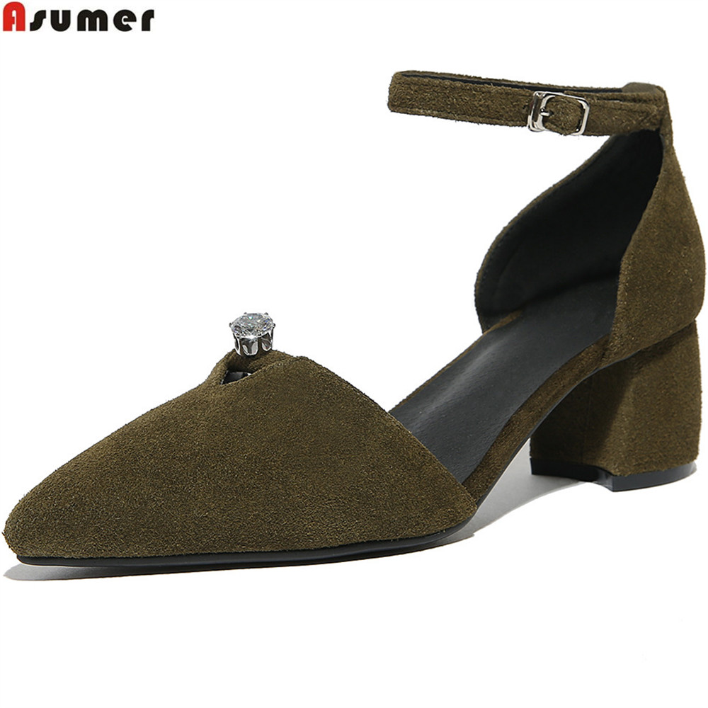 ASUMER black army green fashion new arrival women pumps pointed toe cow suede ladies shoes square heel leather high heels shoes new arrival multi ab color wedding shoes women s pumps luxury crystal shoes pointed toe square heel sheepskin real leather shoes