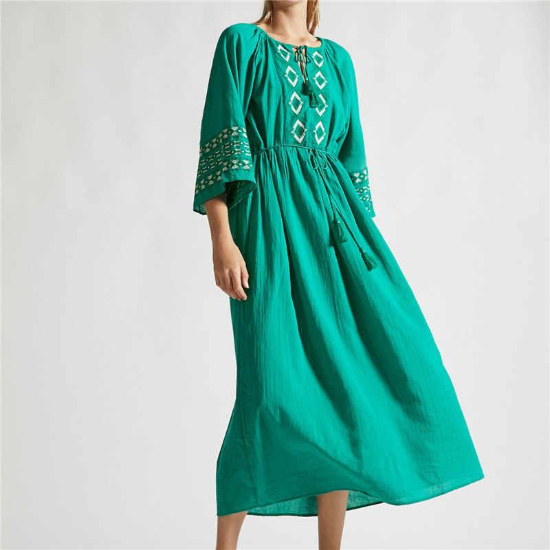 Зеленое богемное кружевное платье с высокой талией и расклешенным парео платье больших размеров женское летнее пляжное платье-туника Robe de plage N666