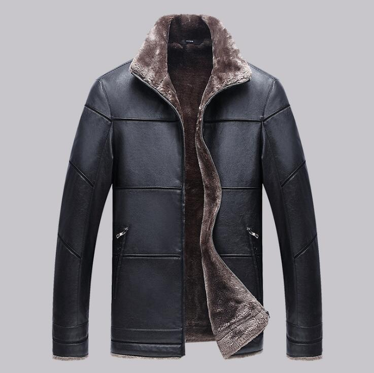 2018 winter mens New Business Casual warm leather jacket Men thickening Fur Coats male fashion Black Large size leather clothes