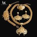 Подвески Большой Дизайн Ожерелье Серьги Браслет Кольцо Моды В Дубае Позолоченный Нигерийские Африканские Бусы Свадебный Комплект Ювелирных Изделий