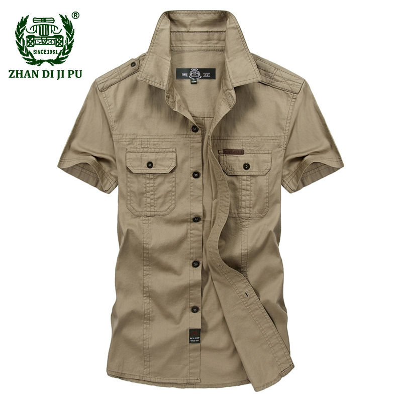 Plus Size M-5XL 2018 Summer Men's Casual Brand Short Sleeve Shirt Man 100% Pure Cotton Afs Jeep Khaki Shirts Army Green Clothing