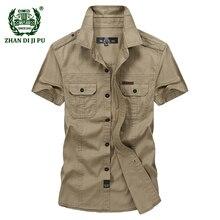Plus Size M-5XL 2018 Summer men's casual brand short sleeve shirt man 100% pure cotton afs jeep khaki shirts army green clothing