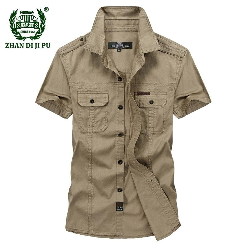 Plus la Taille M-5XL 2018 D'été hommes de marque casual chemise à manches courtes homme 100% pur coton afs jeep kaki shirts vêtements vert armée