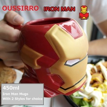 OUSSIRRO Super Hero Avengers Iron Man Theme Milk / Coffee Mugs With Cover and Spoon Pure Color Cup Kitchen Tool Gift