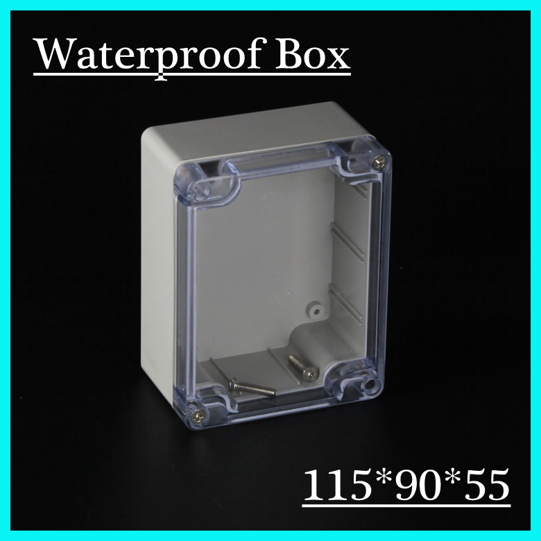 (1 piece/lot) 115*90*55mm Clear ABS Plastic IP65 Waterproof Enclosure PVC Junction Box Electronic Project Instrument Case waterproof abs plastic electronic box white case 6 size