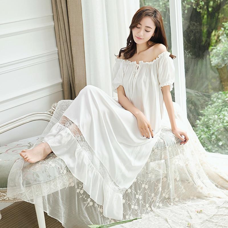 Womens Long Sleeping White Nightgown Short Sleeve Summer