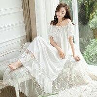 Womens Long Sleeping White Nightgown Short Sleeve Summer Nightdress Elegant Vintage Nightgowns Home Dress For Sleeping GT006