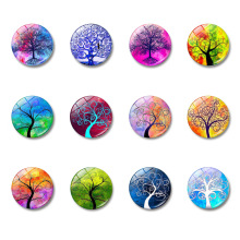 Art Painting Glass Round Retro Flower Pattern Print Refrigerator Sticker Fridge Magnet Life Tree Poppy Message Holder