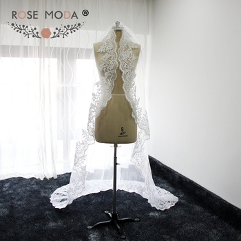 Custom Made 200cm Cathedral Veil with Lace Hem Soft Tulle Bridal Veil White Ivory 2M with Comb