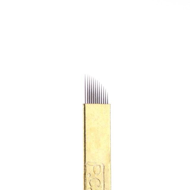 5 Pcs/lot 12/14/19 Pins Bevel U Tattoo Eyebrow Needles Microblading Permanent Makeup Manual Blades Tools NEW 3