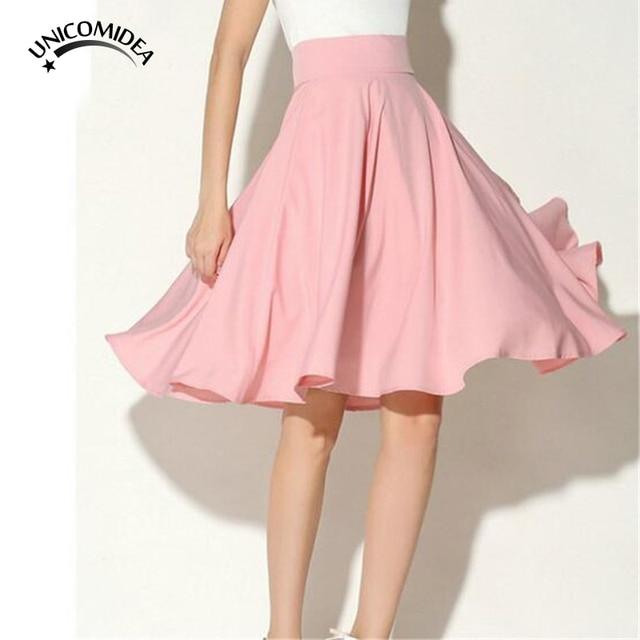Elegant Women Midi Skirt High Waist Pleated Knee Length Skirt Vintage A Line  Petticoat Black White Pink Green Summer Vestidos 5f1a20342