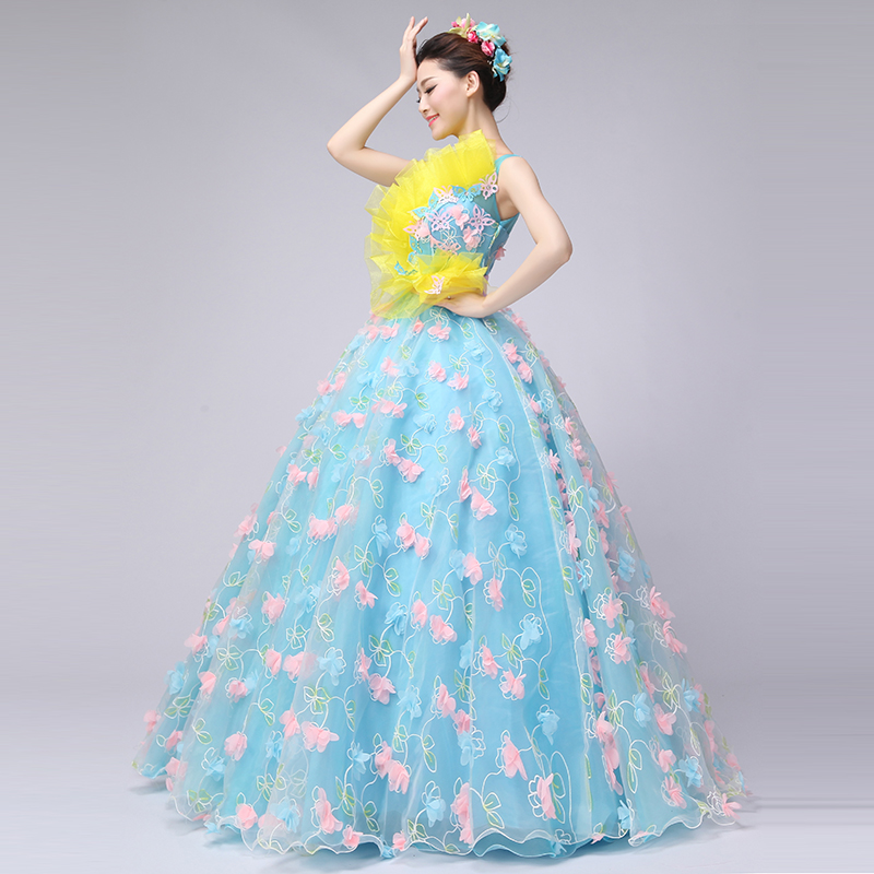 958a15733a0 Brand New 2017 Blue Boat Neck Sleeveless Floor Length Princess Prom Dresses  Solid Flowers Lace Stage Performance Gowns Vestido-in Prom Dresses from  Weddings ...