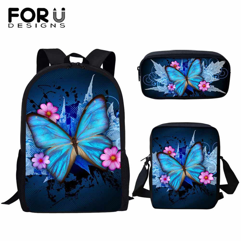 FORUDESIGNS 3D Beauty Butterfly Animals Pattern Pcs/set Girls School Bags For Student Kids School Backpack Children Book Bags