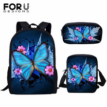 FORUDESIGNS 3D Beauty Butterfly Animals Pattern Pcs/set Girls School Ba