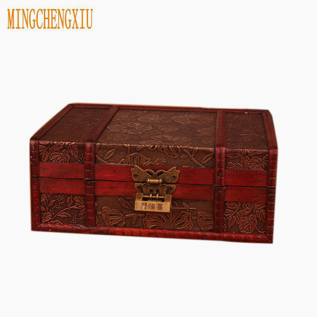 Merveilleux Elegant Vintage Metal Lock Boxes Desktop Storage Jewelry Box Cases Wooden Pirate  Treasure Chest Hot Sales