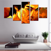 Hot Sales 5 Pcs Famous Movie Martial Arts Star Painting Printed On Canvas For Living Room